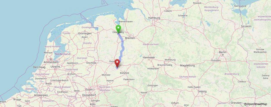 Herzerfrischend map2-938x370 Herzpatient dankt Lebensrettern: Helmut Schmidt wandert von Oldenburg nach Bad Rothenfelde Allgemein